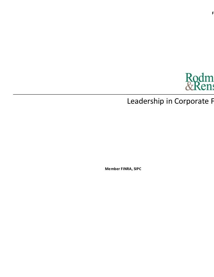 February 2011          Leadership in Corporate FinanceMember FINRA, SIPC