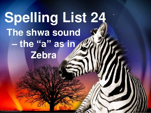 "Spelling List 24The shwa sound– the ""a"" as inZebra"