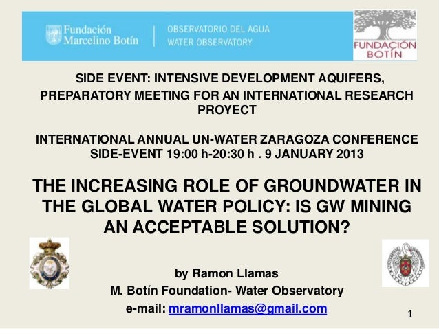 SIDE EVENT: INTENSIVE DEVELOPMENT AQUIFERS,PREPARATORY MEETING FOR AN INTERNATIONAL RESEARCH                      PROYECTI...