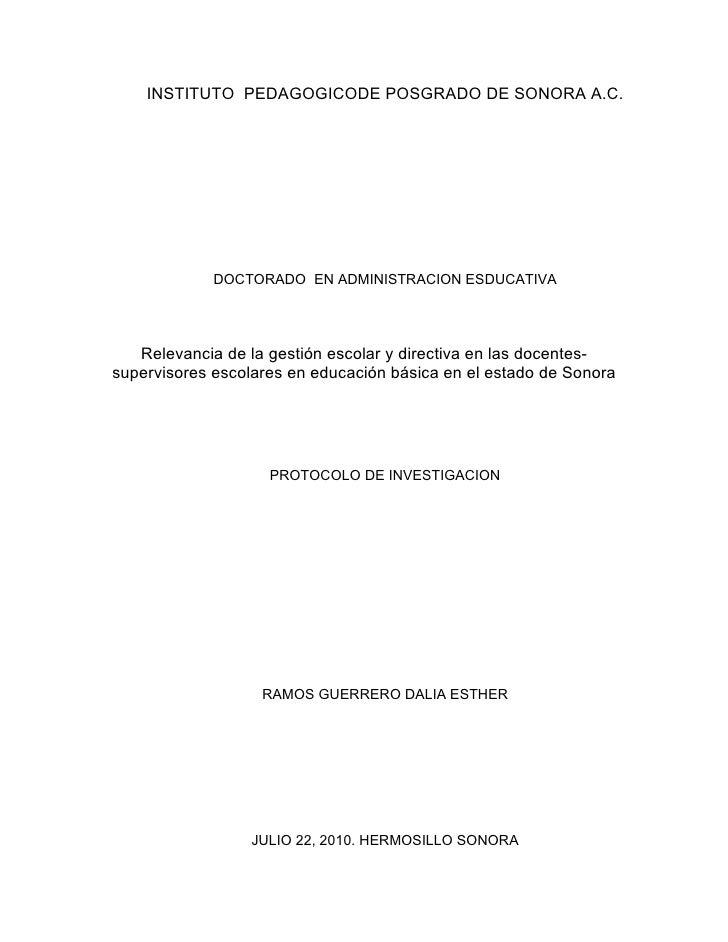 INSTITUTO PEDAGOGICODE POSGRADO DE SONORA A.C.                  DOCTORADO EN ADMINISTRACION ESDUCATIVA        Relevancia d...
