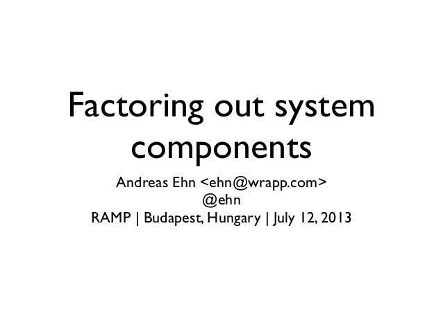 Factoring out system components Andreas Ehn <ehn@wrapp.com> @ehn RAMP   Budapest, Hungary   July 12, 2013