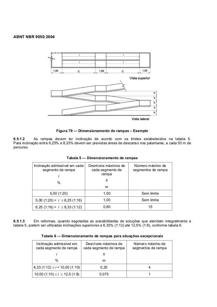 ABNT NBR 9050:2004                          Figura 79 — Dimensionamento de rampas – Exemplo6.5.1.2      As rampas devem te...