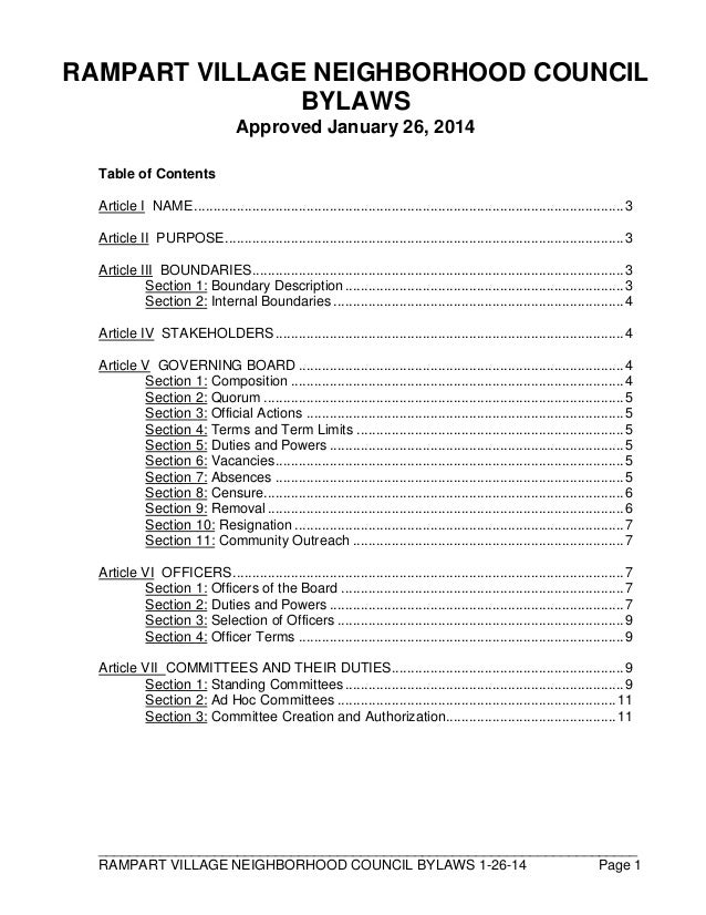 ______________________________________________________________________ RAMPART VILLAGE NEIGHBORHOOD COUNCIL BYLAWS 1-26-14...