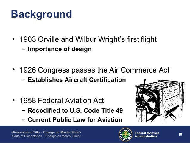 air commerce act of 1926 Early aviation in america was unregulated, with government involvement limited to scientific research and the launching of airmail but frequent accidents led to public demand for regulatory powers, and the air commerce act of 1926 created an aeronautic branch of the united states department of commerce its functions.