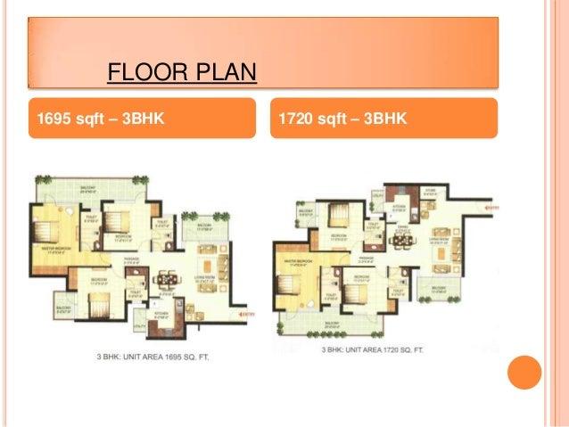 FLOOR PLAN1695 sqft – 3BHK 1720 sqft – 3BHK