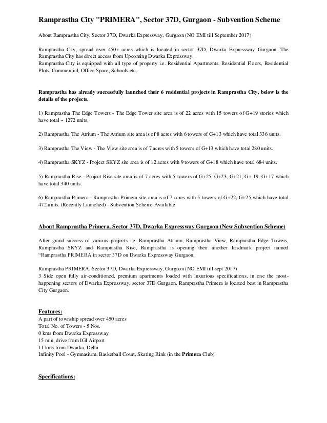 "Ramprastha City ""PRIMERA"", Sector 37D, Gurgaon - Subvention Scheme About Ramprastha City, Sector 37D, Dwarka Expressway, G..."