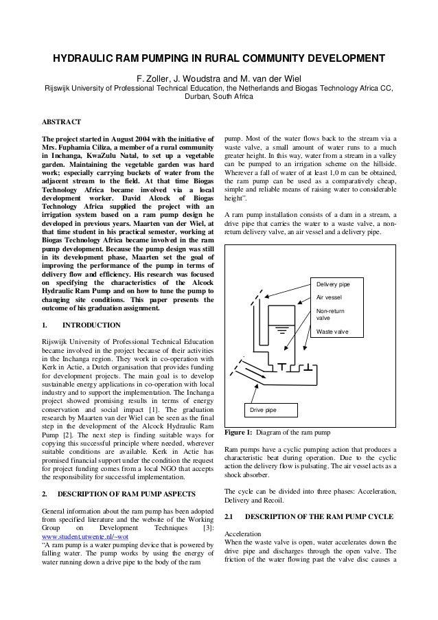 HYDRAULIC RAM PUMPING IN RURAL COMMUNITY DEVELOPMENTF. Zoller, J. Woudstra and M. van der WielRijswijk University of Profe...