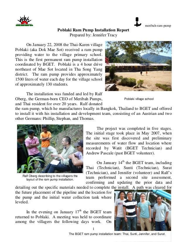 1meribah-ram-pumpPoblaki Ram Pump Installation ReportPrepared by: Jennifer TracyOn January 22, 2008 the Thai-Karen village...