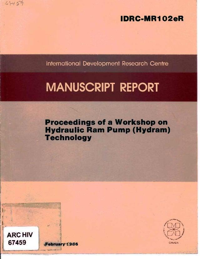 International Development Research CentreARC HIV67459I February 1986- .:-a Workshop onm Pump (Hydram).. --? -IDRC-MRI O2eR...