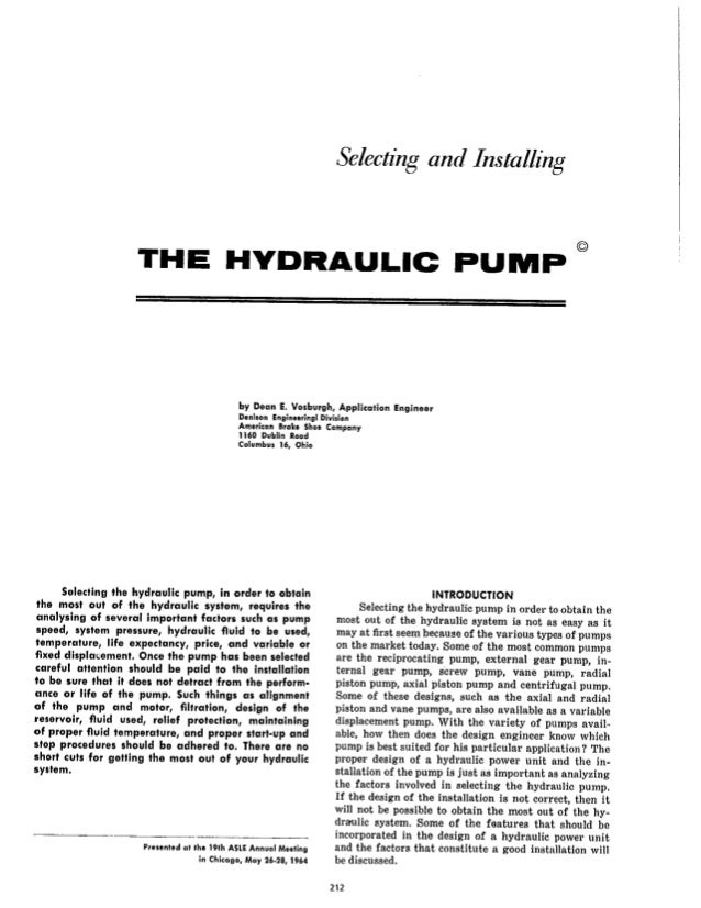 Selecting and Installing the Hydraulic Pump