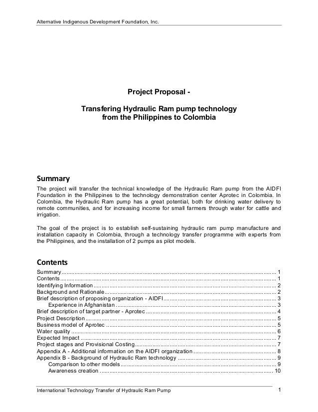 Alternative Indigenous Development Foundation, Inc.International Technology Transfer of Hydraulic Ram Pump 1Project Propos...