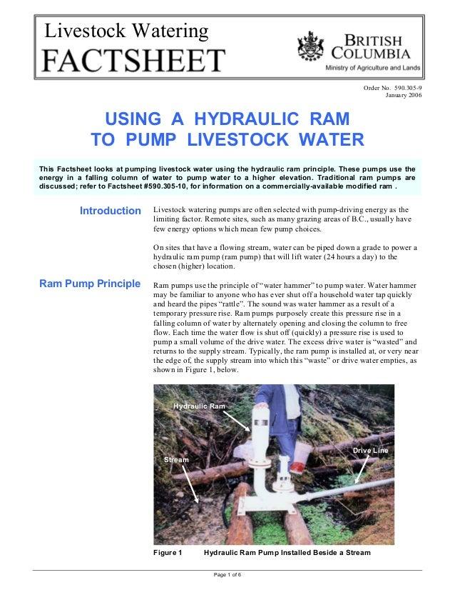 Page 1 of 6Livestock WateringOrder No. 590.305-9January 2006USING A HYDRAULIC RAMTO PUMP LIVESTOCK WATERIntroductionRam Pu...