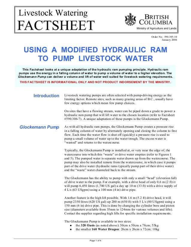 Page 1 of 4Livestock WateringOrder No. 590.305-10January 2006USING A MODIFIED HYDRAULIC RAMTO PUMP LIVESTOCK WATERIntroduc...