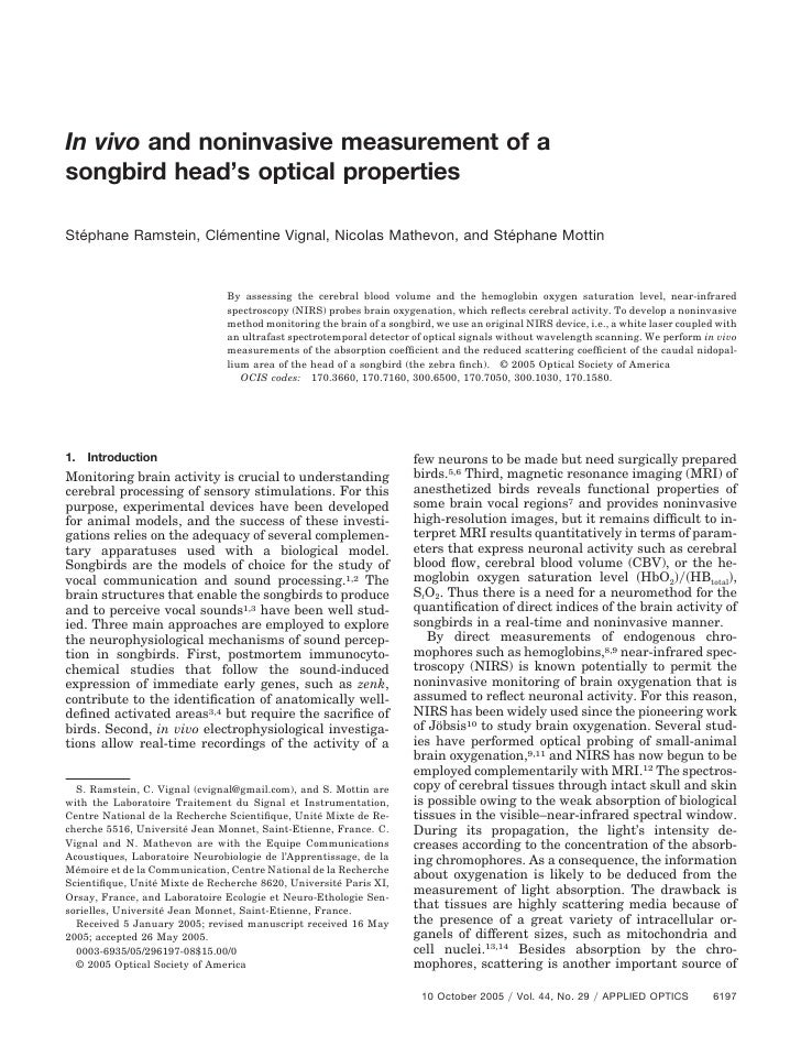 In vivo and noninvasive measurement of asongbird head's optical propertiesStéphane Ramstein, Clémentine Vignal, Nicolas Ma...