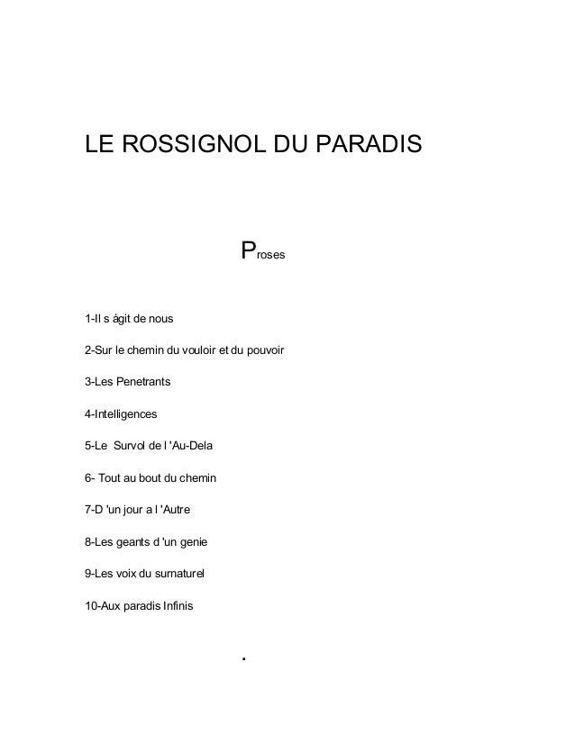 LE ROSSIGNOL DU PARADIS Proses 1-Il s ágit de nous 2-Sur le chemin du vouloir et du pouvoir 3-Les Penetrants 4-Intelligenc...