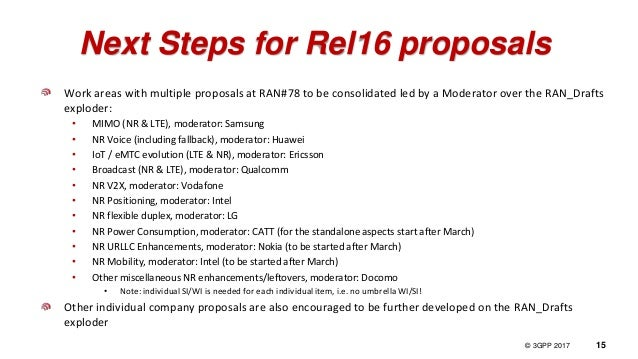 © 3GPP 2012 © 3GPP 2017 15 Next Steps for Rel16 proposals Work areas with multiple proposals at RAN#78 to be consolidated ...