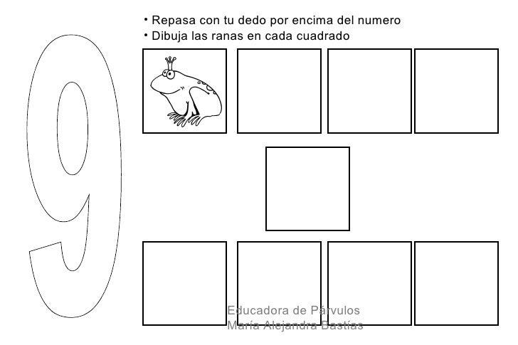 • Repasa con tu dedo por encima del numero• Dibuja las ranas en cada cuadrado             Educadora de Párvulos           ...