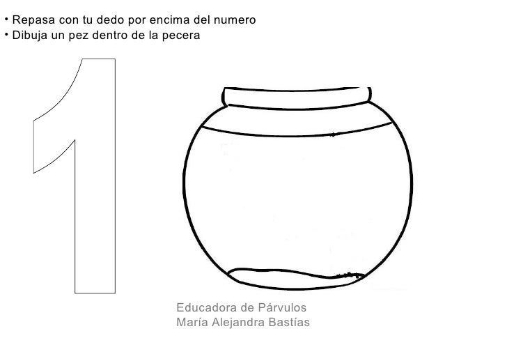 • Repasa con tu dedo por encima del numero• Dibuja un pez dentro de la pecera                            Educadora de Párv...