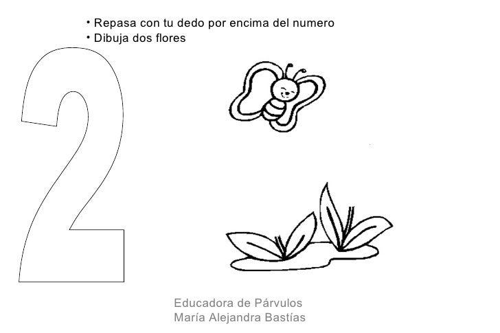 • Repasa con tu dedo por encima del numero• Dibuja dos flores              Educadora de Párvulos              María Alejan...