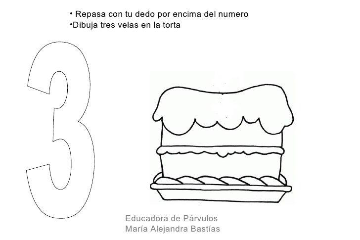• Repasa con tu dedo por encima del numero•Dibuja tres velas en la torta             Educadora de Párvulos             Mar...