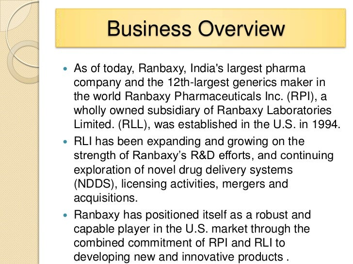 introduction to ranbaxy laboratories limited commerce essay Ranbaxy laboratories limited, india's largest pharmaceutical company, is an integrated, research based, international pharmaceutical company, producing a wide range of quality, affordable generic medicines, trusted by healthcare professionals and patients across geographies.