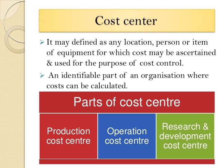 cost centre an identifiable part of an organization for which costs can be calculated The value of an asset should reflect all identifiable costs that would  the full cost of a countermeasure: product costs  centre for data ethics and.