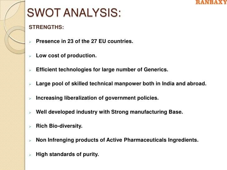 swot analysis of ranbaxy pharma 30 swot analysis strengths:  ranbaxy laboratories - pharma stock analysis imc campaign for revital (ranbaxy) acquisition of ranbaxy by daichii.