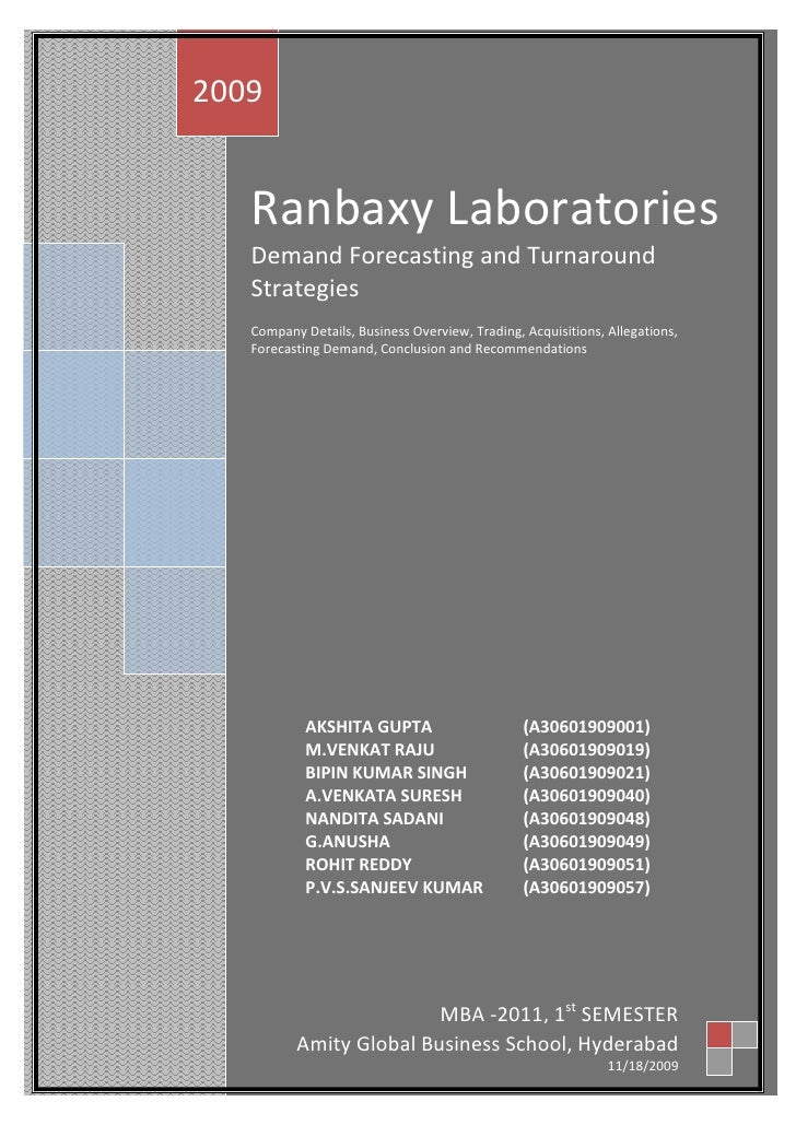 Ranbaxy LaboratoriesDemand Forecasting and Turnaround StrategiesCompany Details, Business Overview, Trading, Acquisitions,...