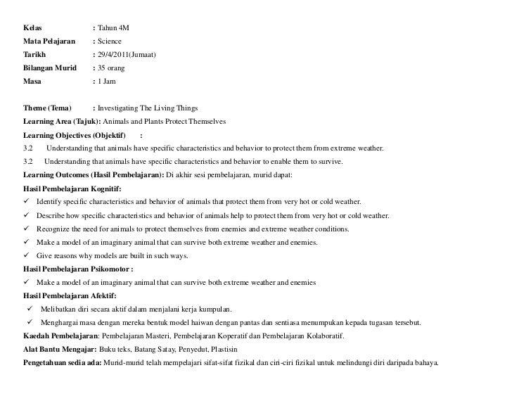 Kelas                  : Tahun 4MMata Pelajaran         : ScienceTarikh                 : 29/4/2011(Jumaat)Bilangan Murid ...