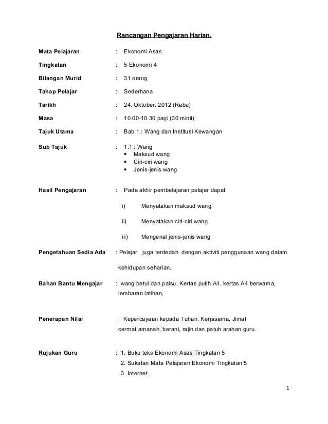 Rancangan Pengajaran Harian Microteaching Ekonomi Asas Form5
