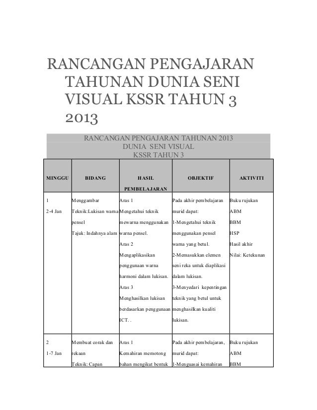 RANCANGAN PENGAJARAN  TAHUNAN DUNIA SENI  VISUAL KSSR TAHUN 3  2013               RANCANGAN PENGAJARAN TAHUNAN 2013       ...