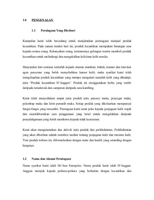 Contoh Kertas Kerja Rancangan Perniagaan Keropok Lekor Jawat Koso