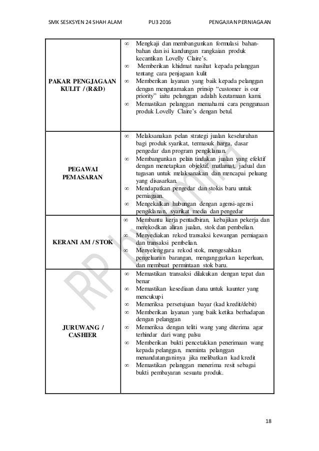 SMK SESKSYEN 24 SHAH ALAM PU3 2016 PENGAJIAN PERNIAGAAN 18 PAKAR PENGJAGAAN KULIT / (R&D)  Mengkaji dan membangunkan form...