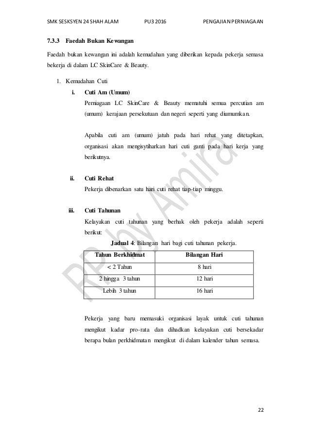 SMK SESKSYEN 24 SHAH ALAM PU3 2016 PENGAJIAN PERNIAGAAN 22 7.3.3 Faedah Bukan Kewangan Faedah bukan kewangan ini adalah ke...