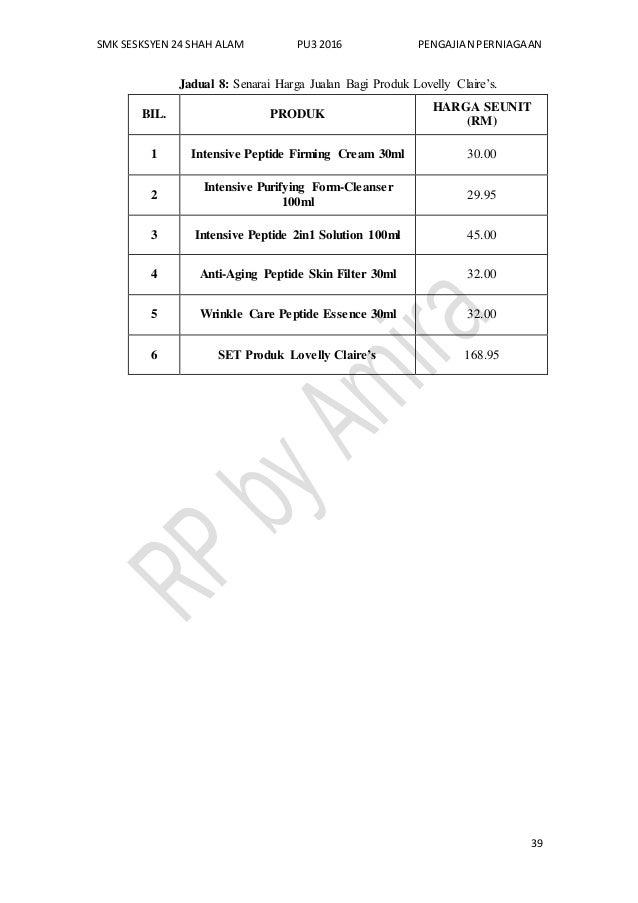 SMK SESKSYEN 24 SHAH ALAM PU3 2016 PENGAJIAN PERNIAGAAN 39 Jadual 8: Senarai Harga Jualan Bagi Produk Lovelly Claire's. BI...