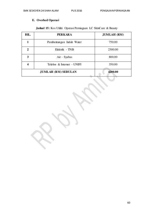SMK SESKSYEN 24 SHAH ALAM PU3 2016 PENGAJIAN PERNIAGAAN 60 E. Overhed Operasi Jadual 15: Kos Utiliti Operasi Perniagaan LC...