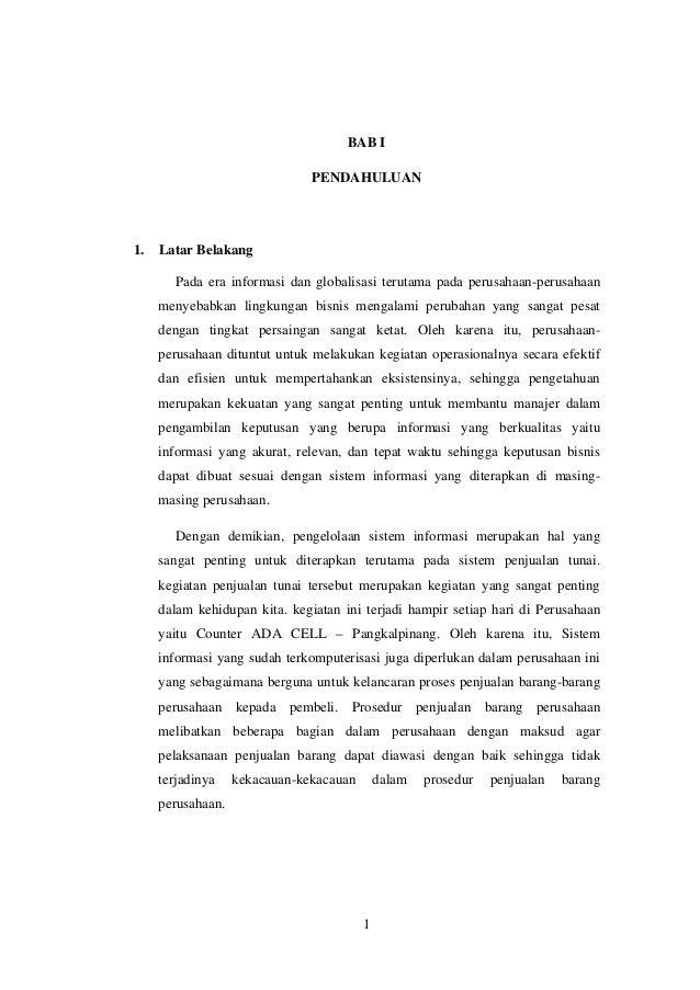 Rancangan Sistem Informasi Penjualan Tunai Pada Metedologi Berorienta