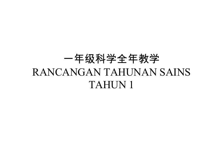 一年级科学全年教学RANCANGAN TAHUNAN SAINS       TAHUN 1