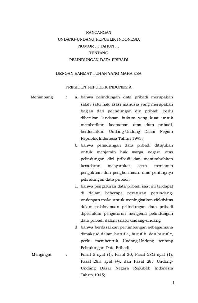 1 RANCANGAN UNDANG-UNDANG REPUBLIK INDONESIA NOMOR … TAHUN … TENTANG PELINDUNGAN DATA PRIBADI DENGAN RAHMAT TUHAN YANG MAH...