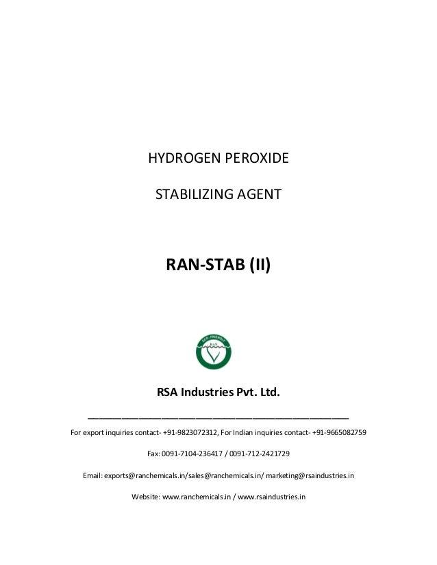 HYDROGEN PEROXIDE STABILIZING AGENT RAN-STAB (II) RSA Industries Pvt. Ltd. ______________________________________________ ...