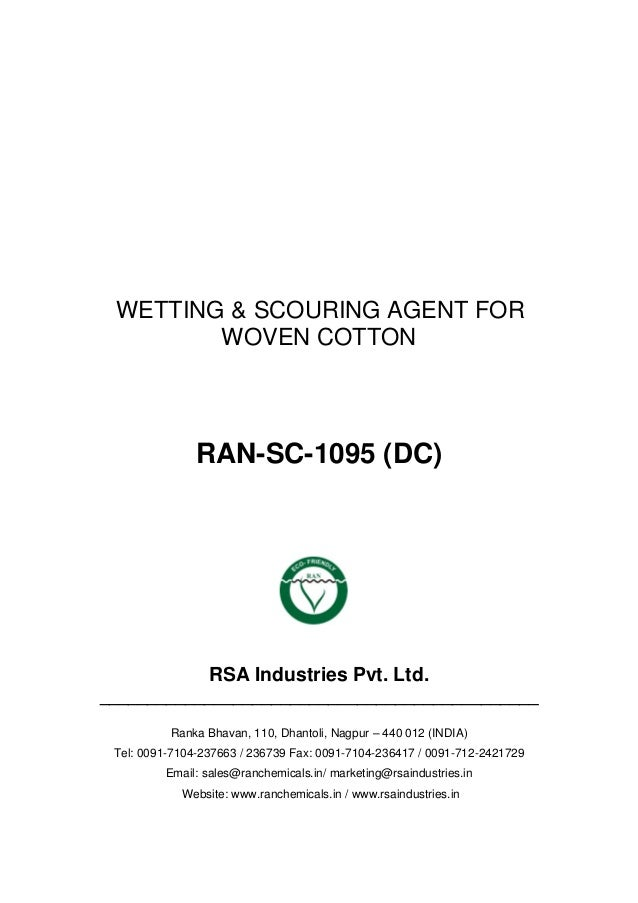 WETTING & SCOURING AGENT FOR WOVEN COTTON RAN-SC-1095 (DC) RSA Industries Pvt. Ltd. ______________________________________...