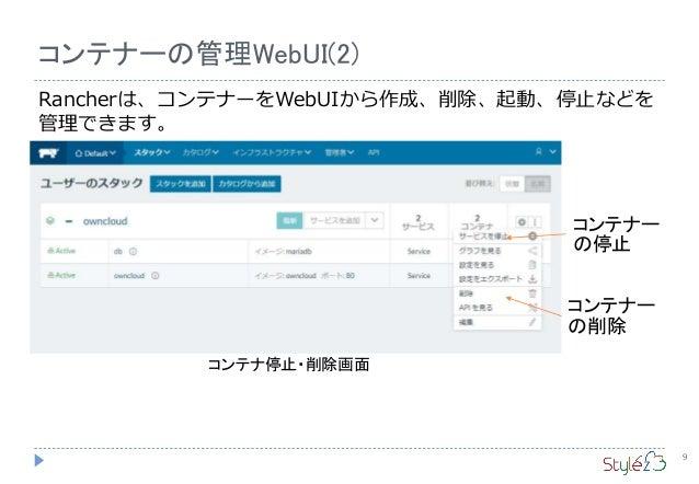 9 コンテナーの管理WebUI(2) Rancherは、コンテナーをWebUIから作成、削除、起動、停止などを 管理できます。 コンテナ停止・削除画面 コンテナー の停止 コンテナー の削除