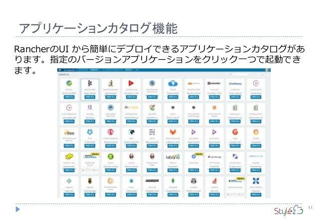 アプリケーションカタログ機能 11 RancherのUI から簡単にデプロイできるアプリケーションカタログがあ ります。指定のバージョンアプリケーションをクリック一つで起動でき ます。