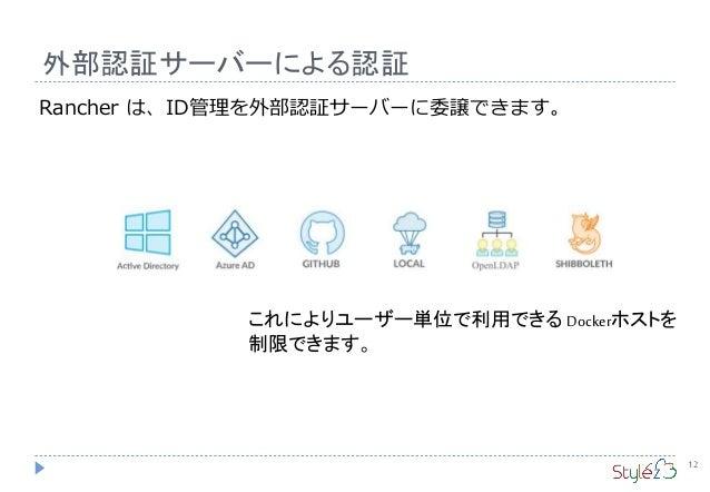 外部認証サーバーによる認証 12 Rancher は、ID管理を外部認証サーバーに委譲できます。 これによりユーザー単位で利用できる Dockerホストを 制限できます。