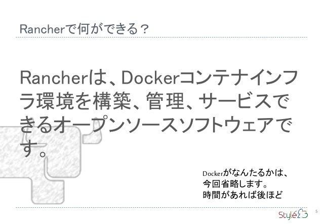 Rancherは、Dockerコンテナインフ ラ環境を構築、管理、サービスで きるオープンソースソフトウェアで す。 Rancherで何ができる? 5 Dockerがなんたるかは、 今回省略します。 時間があれば後ほど
