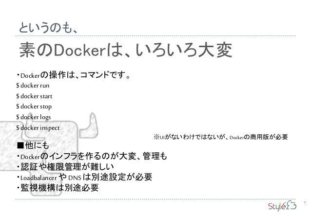 素のDockerは、いろいろ大変 というのも、 7 ・Dockerの操作は、コマンドです。 $ docker run $ docker start $ docker stop $ docker logs $ docker inspect ※UI...