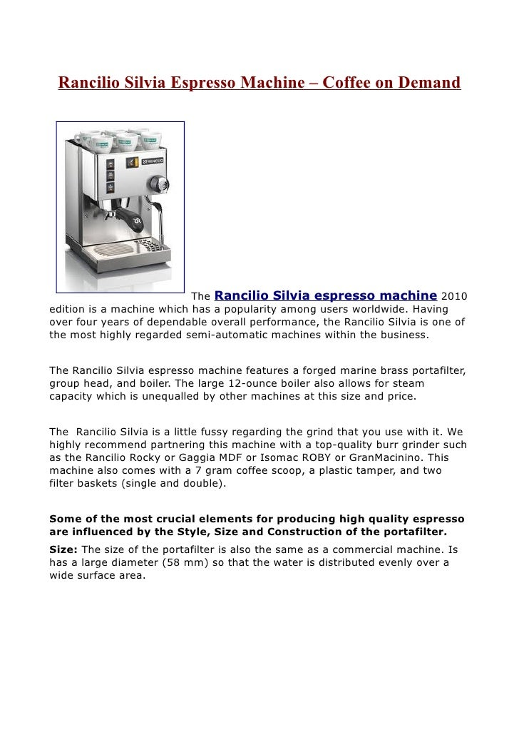 Rancilio Silvia Espresso Machine – Coffee on Demand                                The Rancilio Silvia espresso machine 20...