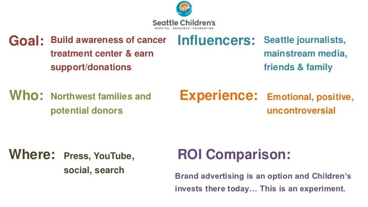 Goal:   Build awareness of cancer   Influencers:          Seattle journalists,        treatment center & earn             ...