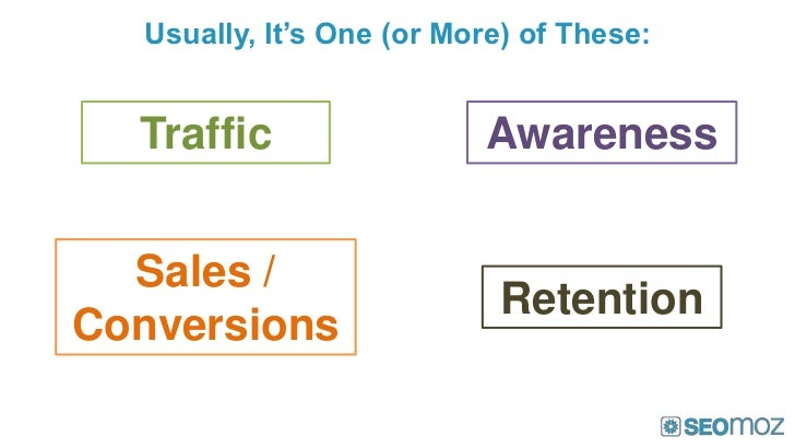 Usually, It's One (or More) of These:  Traffic                 Awareness  Sales /                            RetentionConv...