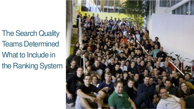 The Search Quality Teams Determined What to Include in the Ranking System